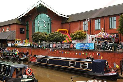 Narrowboats Moored by Castle Quay Shopping Centre