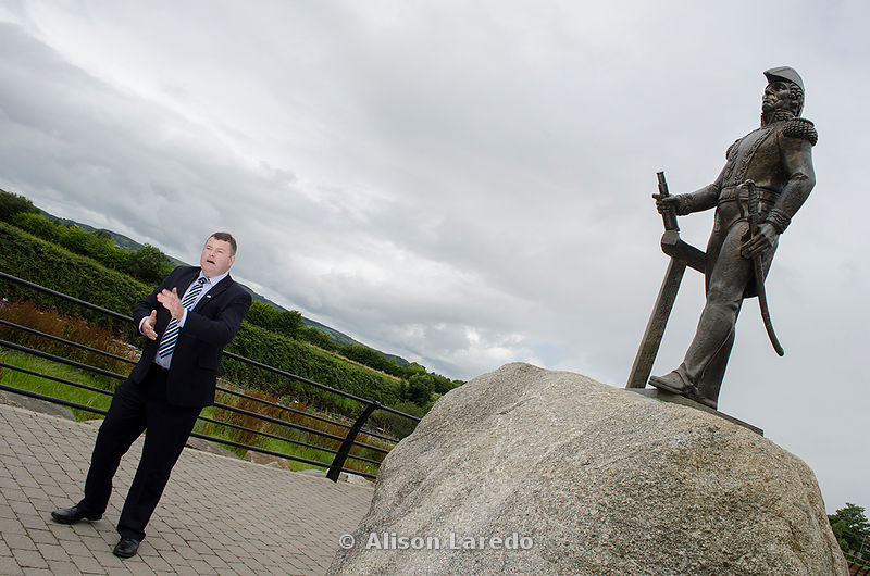 The captain and some of the crew of the Argentinian tall ship Libertad visited Foxford in County Mayo, birthplace of Admiral William Brown known as the 'Father of the Argentinian Navy'. Cllr Neil Cruise and a statue of Admiral Brown on the banks of the river Moy..