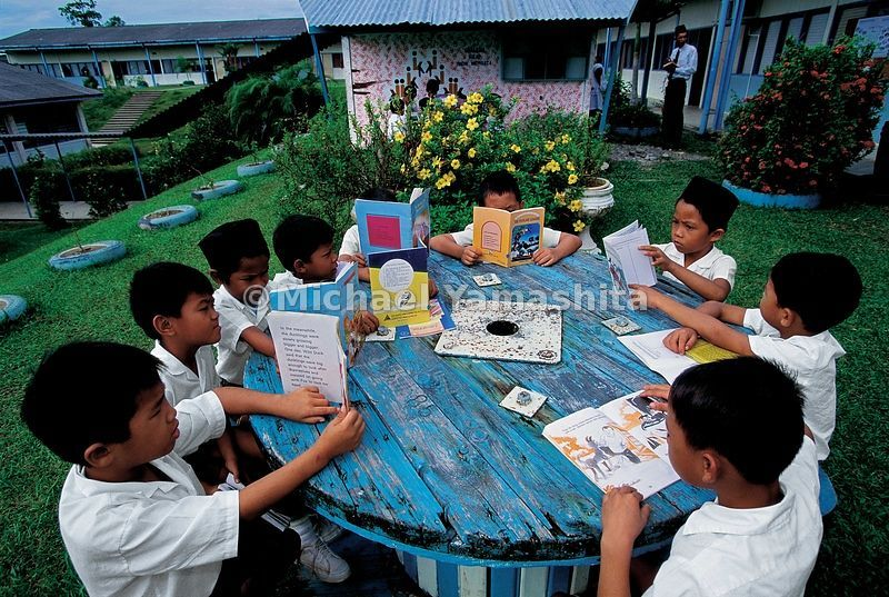 Al fresco classes are a change of pace for these students during the hottest months.