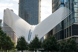 The Oculus as seen from the World Trade Center Memorial in Lower Manhattan in New York City.