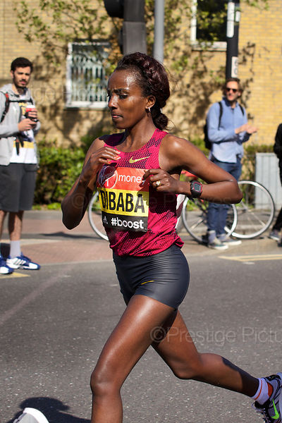 Tirunesh Dibaba (3rd) of Ethiopia Running in the  Elite Womens Event at the 2014 Virgin London Marathon
