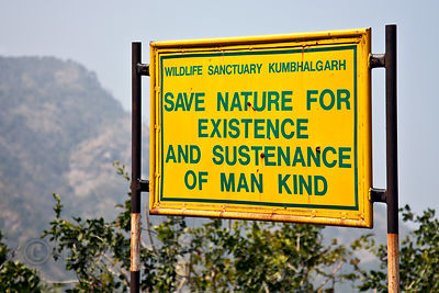 Sign imploring Indians to save nature near Kumbhalgarh Fort, Rajasthan, India