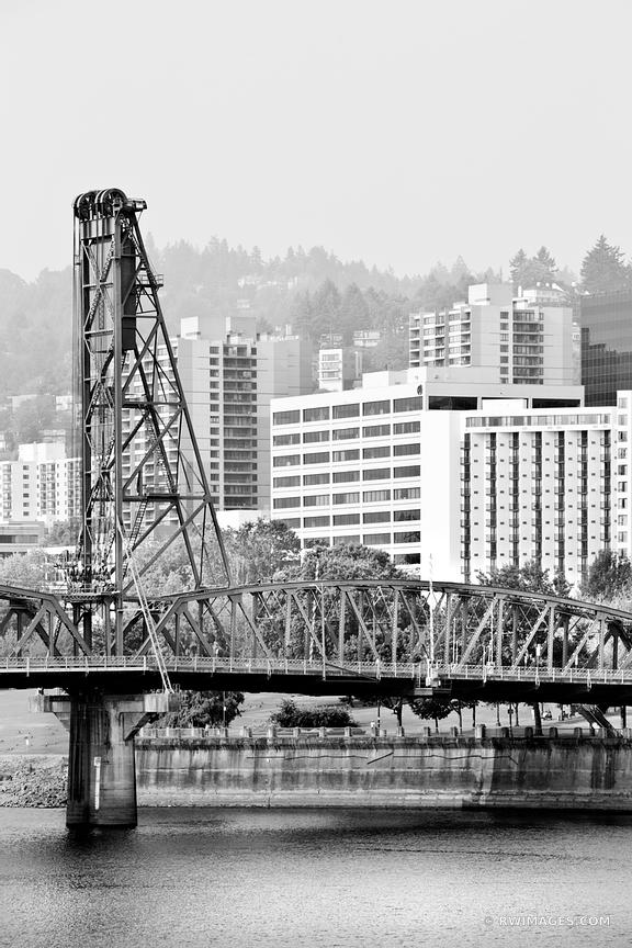HAWTHORNE BRIDGE PORTLAND OREGON BLACK AND WHITE VERTICAL