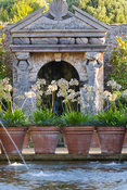 The allegorical River Arun emerges from a rocky grotto framed by a scallop shell pediment and muscular caryatids. It flows along a rill pool flanked by turned oak urns spouting water through gilded lions' heads. Planting includes Alchemilla mollis and white agapanthus. The Collector Earl's Garden designed by Julian and Isabel Bannerman. Arundel Castle Gardens, Arundel, West Sussex, UK