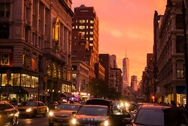 A view of the World Trade Center during dusk as seen from Sixth Avenue in Manhattan, New York.