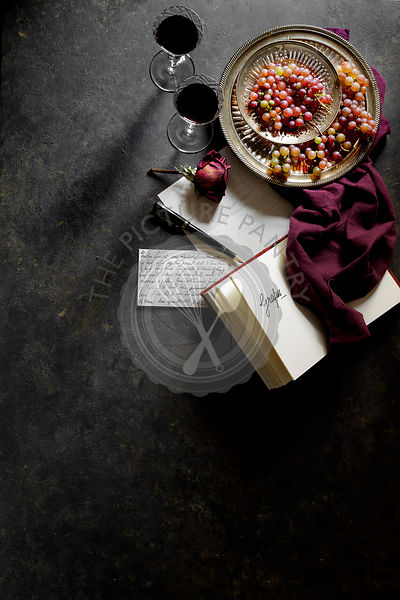 Grapes and Wine with a writing book