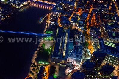 Aerial view of the Tate Modern at night, London