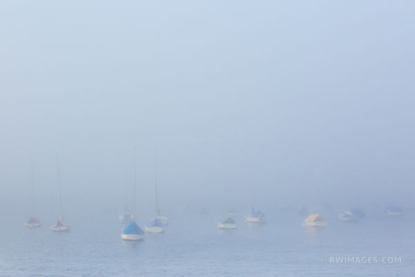 FOG EVENING SAILBOATS ROCKPORT CAPE ANN MASSACHUSETTS