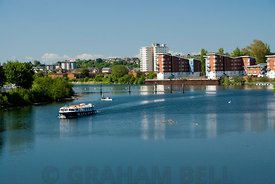 aqua bus on river taff, grangetown, cardiff, south wales, uk