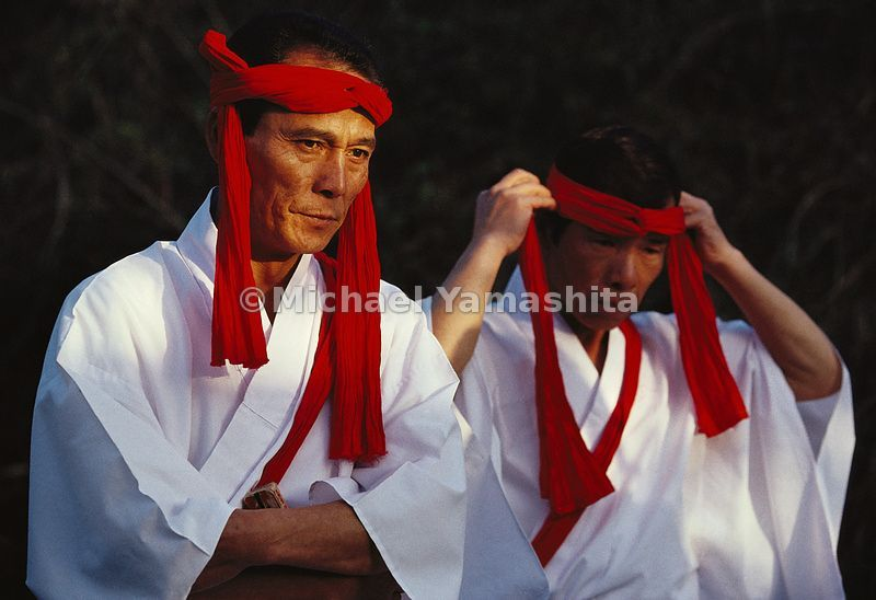 During festivals in the Takachiho region of Miyazaki Prefecture in southeastern Kyushu, dancers reenact Shinto creation stories.