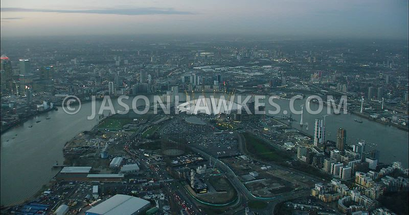 London Aerial Footage O2 Arena and River Thames.