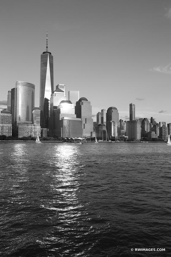 LOWER MANHATTAN SKYLINE FREEDOM TOWER NEW YORK CITY NEW YORK BLACK AND WHITE