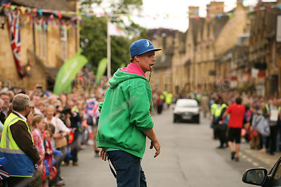 Street Entertainer with Powerstriders at the Olympic Torch Relay