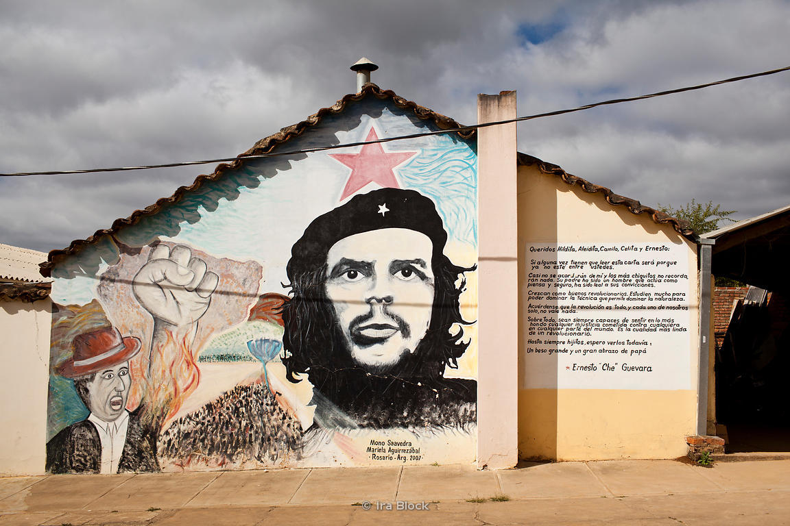 "A painting dedicated to Ernesto ""Che"" Guevara on the Vallegrande hospital in Bolivia."
