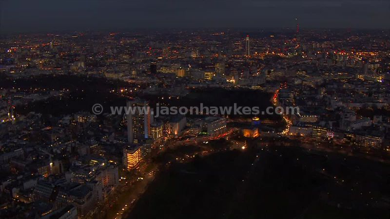 Aerial footage of Hyde Park Corner at night, London