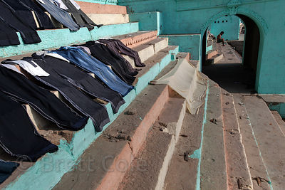 Laundry dries at Lal Ghat, Varanasi, India.