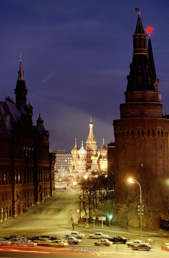 St. Basils cathedral, Red Square in Moscow, in front of Spasskaya tower, Russia