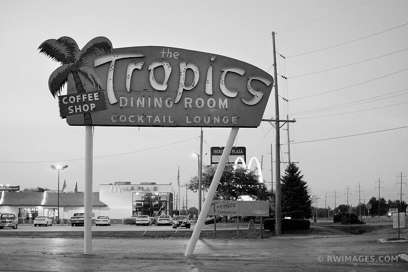 THE TROPICS DINING ROOM SIGN ROUTE 66 BLACK AND WHITE