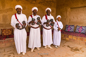 A performance by local musicians in the Moroccan village of Khamila, founded in the 1950's near Erg Chebbi, Sand dunes area of the Sahara in Morocco