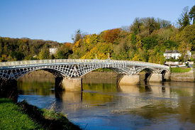 Chepstow Bridge and River Wye, Chepstow, Monmouthshire, South Wales.