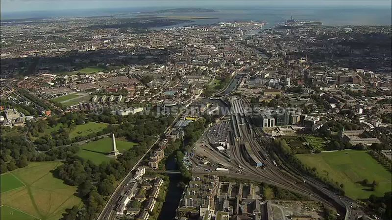 Aerial footage of the Wellington Testimonial, Dublin, Ireland