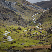 View of Honister Pass from highway B5289, The Lakes District National Park, England, United Kingdom