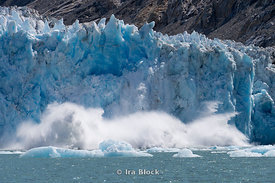 Ice calving off at Dawes Glacier, Endicott Arm, Southeast Alaska.  Sequence 8 of 11.