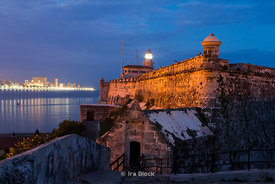 A night shot of Morro Castle guarding Havana Harbor in Havana, Cuba.  It was named after the three biblical Magi.