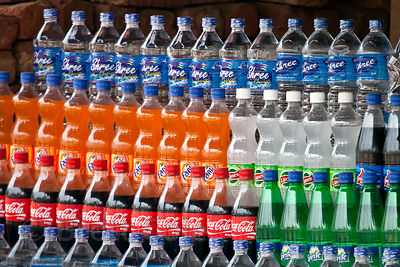 Plastic bottled drinks for sale in Pushkar, Rajasthan, India. Plastic waste is a huge problem in India.