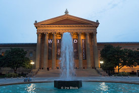 A fountain in front of the Philadelphia Museum of Art in Philadelphia.