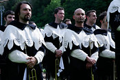 Group of mediaeval trumpeters and drummers on field at the annual Corsa all'Anello, Ring jousting, at Narni in Umbria