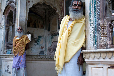 India - Jaipur - Priests at The Surya Mandir (known as the Monkey Temple)