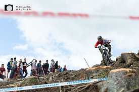 Racer at the UCI Downhill Worldcup in Leogang, Austria.