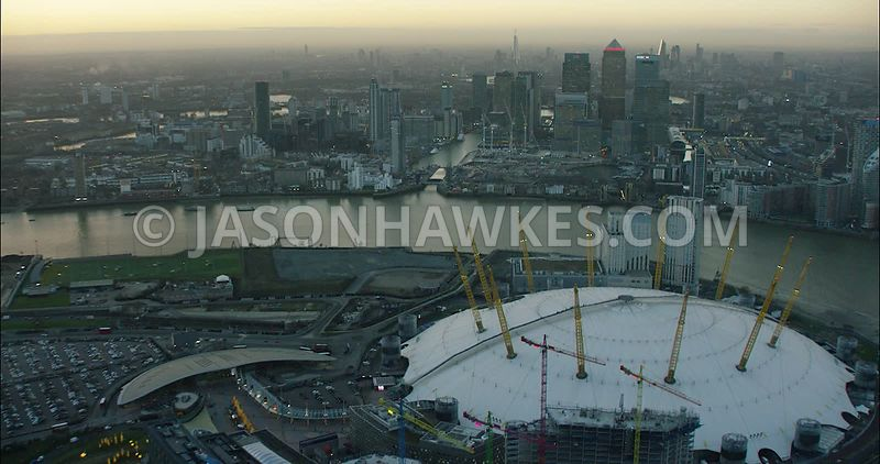 London Aerial Footage O2 Arena and Canary Wharf.