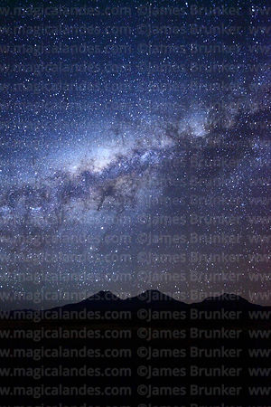 Galactic Centre of Milky Way above Payachatas volcanos, Sajama National Park, Bolivia