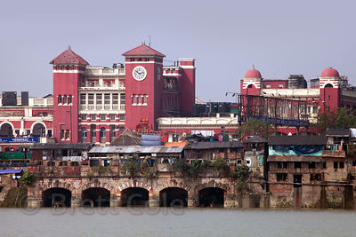 Howrah Station is a massive train station (and revered architectural work) in Howrah, across the Hooghly River from Kolkata, India.