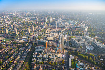 Aerial view of London, A40 at Shepherds Bush.