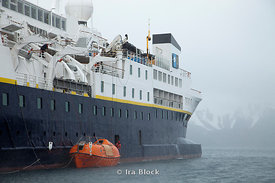 Anchoring National Geographic Explorer at Whaler's Bay, Deception Island.
