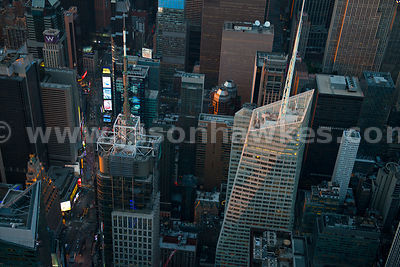 Aerial view of 4 Times Square and the Bank of America Tower, two skyscrapers in Midtown Manhattan
