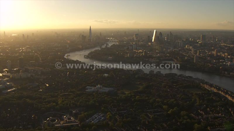 Aerial footage from Rotherhithe to the City, London