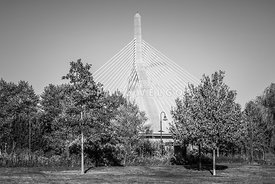Boston Zakim Bunker Hill Bridge Black and White Photo