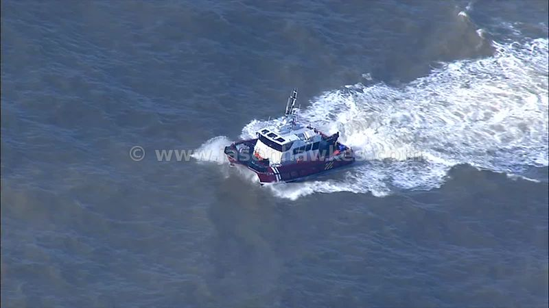 Aerial footage of boat on the English Channel