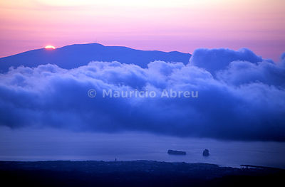 The island of Faial seen from Pico island at sunset. Azores islands