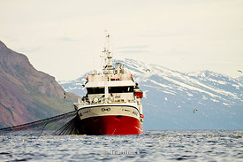A red fishing boat off the island of Fugloya, Norway.