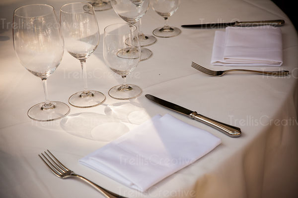 Place settings on table in restaurant