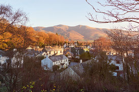 A cold morning over the small village of Braithwaite in the English Lake District, UK.