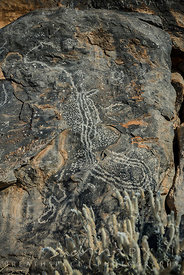 pictoglyphs carved in rock