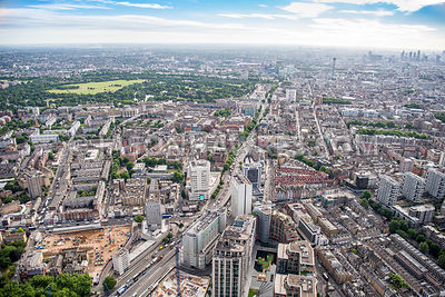 Aerial view of London, Edgware Road and Marylebone Road, Paddington.
