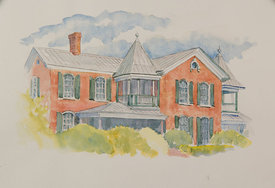 Letty Floyd Johnston Home, original watercolor illustration, 19 x 15 framed