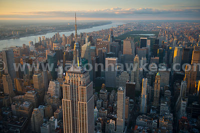 Aerial view of Midtown Manhattan with the Empire State Building in the foreground